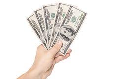 Entregue dólares americanos Da terra arrendada fotos de stock royalty free