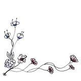 Entregue a decoração tirada da beira do elemento do design floral - EPS10 Imagem de Stock
