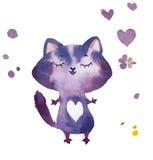 Entregue a desenhos animados tirados da aquarela o gato lilás com corações e flores Imagem de Stock Royalty Free