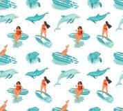 Entregue a divertimento tirado das horas de verão do sumário do vetor o teste padrão sem emenda com a menina dos surfistas no biq ilustração stock