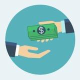 Entregue a doação do dinheiro à outra ilustração lisa do vetor do projeto da mão Foto de Stock Royalty Free