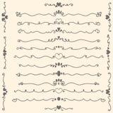 Entregue elementos do projeto e a decoração caligráficos de tiragem da página Imagens de Stock