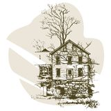 Entregue a esboço tirado a casa moderna na ilustração do vetor Esboço urbano do vetor Imagens de Stock