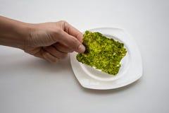 Entregue a escolha da folha de alga fritada coreano sobre a placa branca no whit fotografia de stock