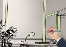 entregue a escritório de desenho linhas fictícias na sala Com detalhes verdes Foto de Stock Royalty Free