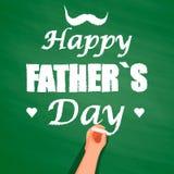 Entregue a escrita com giz no quadro, o dia de pai feliz ilustração stock