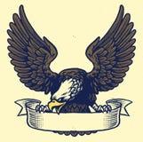 Entregue a estilo do desenho do aperto da águia a fita ilustração do vetor