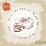 Entregue a estilo tirado do esboço a composição fresca dos frutos dos macis da noz-moscada Ilustração do vetor da especiaria e do Imagens de Stock