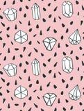 Entregue a estilo tirado o teste padrão sem emenda com formas do diamante Imagem de Stock