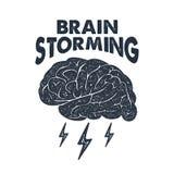 Entregue a etiqueta inspirada tirada com ilustração e rotulação do vetor do cérebro Fotografia de Stock Royalty Free