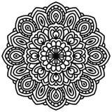 Entregue a fantasia tirada a cabeça linear da flor, vista superior Fotos de Stock Royalty Free