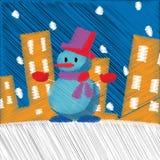 Entregue a Feliz Natal tirado o ano novo feliz fundo do cartão de 2018 invernos com desenhos animados bonitos Estilo escandinavo  Fotografia de Stock