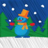 Entregue a Feliz Natal tirado o ano novo feliz fundo do cartão de 2018 invernos com desenhos animados bonitos Estilo escandinavo  Fotos de Stock