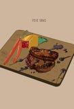 Entregue Foie tirado Gras na placa de madeira com pimenta grelhada, cenoura ilustração stock