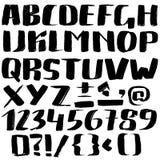 Entregue a fonte tirada feita por cursos secos da escova Alfabeto do estilo do Grunge ilustração do vetor