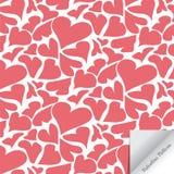 Entregue a forma linear branca de tiragem do coração no fundo cor-de-rosa, teste padrão do vetor Fotos de Stock Royalty Free