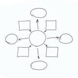 Entregue gráficos tirados ou símbolos do diagrama para entrar a informação concentrada foto de stock