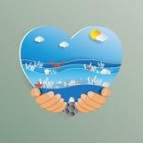 Entregue guardar a forma do coração com estilo da arte do papel da onda de oceano ilustração stock