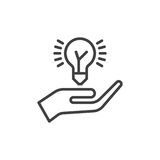 Entregue guardar a linha ícone do bulbo da ideia, sinal do vetor do esboço, pictograma linear do estilo isolado no branco Ideia q Fotografia de Stock