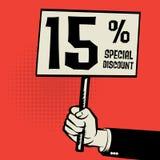 Entregue guardar o cartaz, conceito do negócio com texto um speci de 15 por cento Imagens de Stock