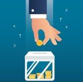 Entregue guardar o conceito da moeda de fazer o dinheiro para o negócio e financie-o ilustração do vetor