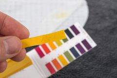 Entregue guardar o indicador de pH que compara a cor à escala foto de stock royalty free