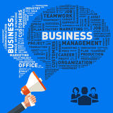 Entregue guardar o megafone, bolha do discurso do negócio, vetor da nuvem da palavra Imagens de Stock