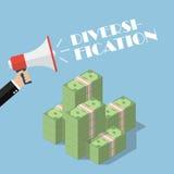 Entregue guardar o megafone com diversificação da palavra sobre o dinheiro Fotografia de Stock
