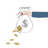 Entregue guardar o saco rasgado do dinheiro com as moedas que derramam para fora Imagens de Stock
