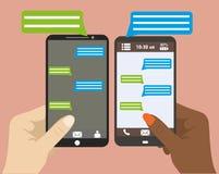 Entregue guardar o smartphone preto com bolhas vazias do discurso para o texto ilustração stock