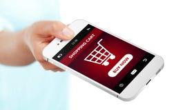 Entregue guardar o telefone celular com o carrinho de compras isolado sobre o whit Fotografia de Stock Royalty Free