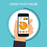 Entregue guardar o telefone esperto móvel com alimento app da entrega Ordem FO ilustração do vetor