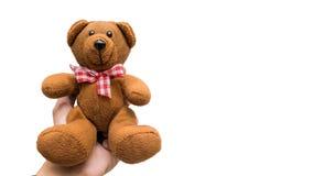 Entregue guardar o urso de peluche no fundo branco, Grampeamento-trajeto Foto de Stock