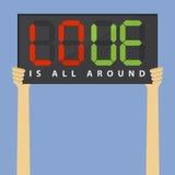 Entregue guardar a placa da substituição do futebol com massagem do amor para o Valentim, decoração do dia de s ilustração royalty free
