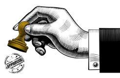 Entregue guardar um carimbo de borracha e um selo aprovado redondo ilustração do vetor