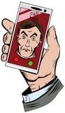 Entregue guardar um telefone com uma chamada entrante do chefe Fotografia de Stock Royalty Free