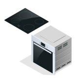 Entregue guardar uma caçarola na cozinha moderna com fogão da indução Fotografia de Stock