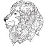 Entregue a ilustração decorativa tirada da cabeça do leão do esboço decorada com garatujas abstratas Imagem de Stock Royalty Free