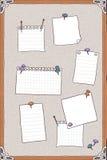 Entregue a ilustração tirada da placa do pino com pinos e papéis de nota vazios ilustração stock