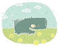 Entregue a ilustração tirada do grunge do hipopótamo bonito no fundo com ilustração do vetor