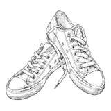 Entregue a ilustração tirada do vetor com um par de sapatilhas Fotografia de Stock