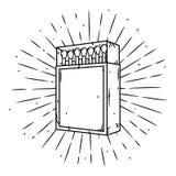 Entregue a ilustração tirada do vetor com uma caixa dos fósforos e uns raios divergentes Fósforos em uma caixa de fósforos Fotografia de Stock Royalty Free