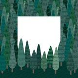 Entregue a ilustração tirada do vetor da floresta com espaço vazio para o texto Árvore no teste padrão da terra e da floresta Qua Fotografia de Stock Royalty Free