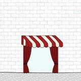 Entregue a ilustração tirada do vetor da parede de tijolo branca do teste padrão com toldo Cortina drapejada vermelho Imagem de Stock