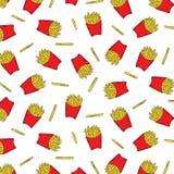 Entregue a ilustração tirada do vetor de batatas fritadas francês no teste padrão da caixa de papel no fundo branco Papel de pare Imagens de Stock Royalty Free