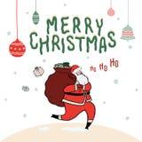 Entregue a ilustração tirada do vetor de Santa Claus com o saco completo dos presentes no fundo da neve Tipografia do Feliz Natal Imagens de Stock Royalty Free