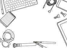 Entregue a ilustração tirada do vetor, ideia superior dos materiais de escritório e ilustração stock