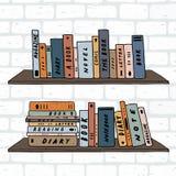 Entregue a ilustração tirada do vetor do livro em prateleiras estantes na parede de tijolo branca ilustração royalty free