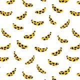 Entregue a ilustração tirada do vetor do teste padrão da banana no fundo branco Papel de parede abstrato da garatuja Fotos de Stock Royalty Free