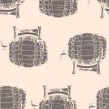 Entregue a ilustração tirada do vetor, teste padrão sem emenda dos tambores Foto de Stock